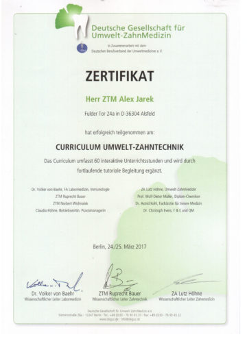 Zertifikat Umwelt
